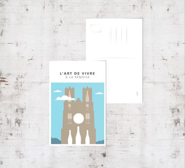 "Mockup - Carte postale ""Cathédrale tons pastels"""