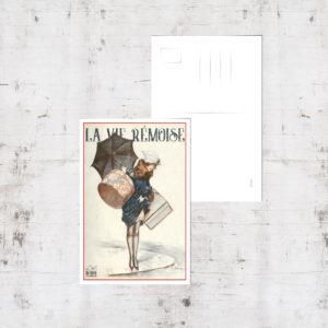 """Mockup - Carte postale """"Rémoise 1920 sous la pluie"""""""